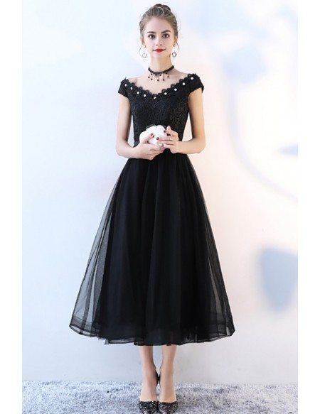 Beaded V-neck Black Tulle Party Dress Tea Length