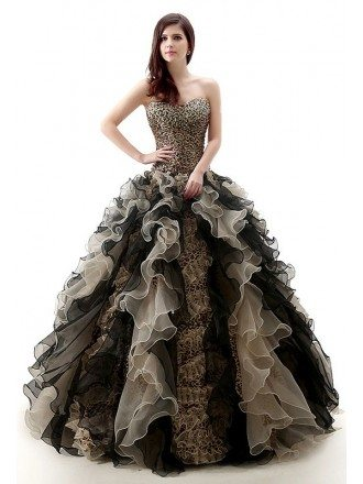 Ball-Gown Sweetheart Sweep Train Tulle  Dress With Cascading Ruffles Beading
