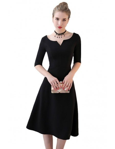 Simple Black Knee Length Party Dress Aline