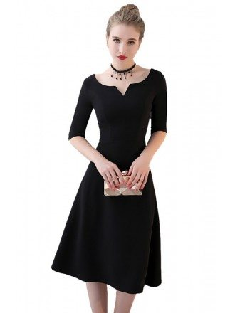 Simple Black Knee Length Party Dress Aline
