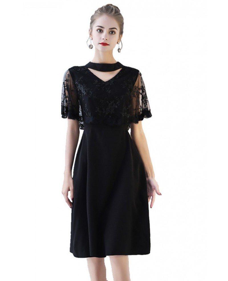 Classy Lace Cape Sleeve Short Black Formal Dress #BLS86049