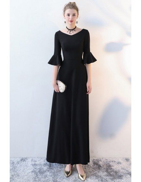 Elegant Ankle Length Black Formal Dress with Trumpet Sleeves