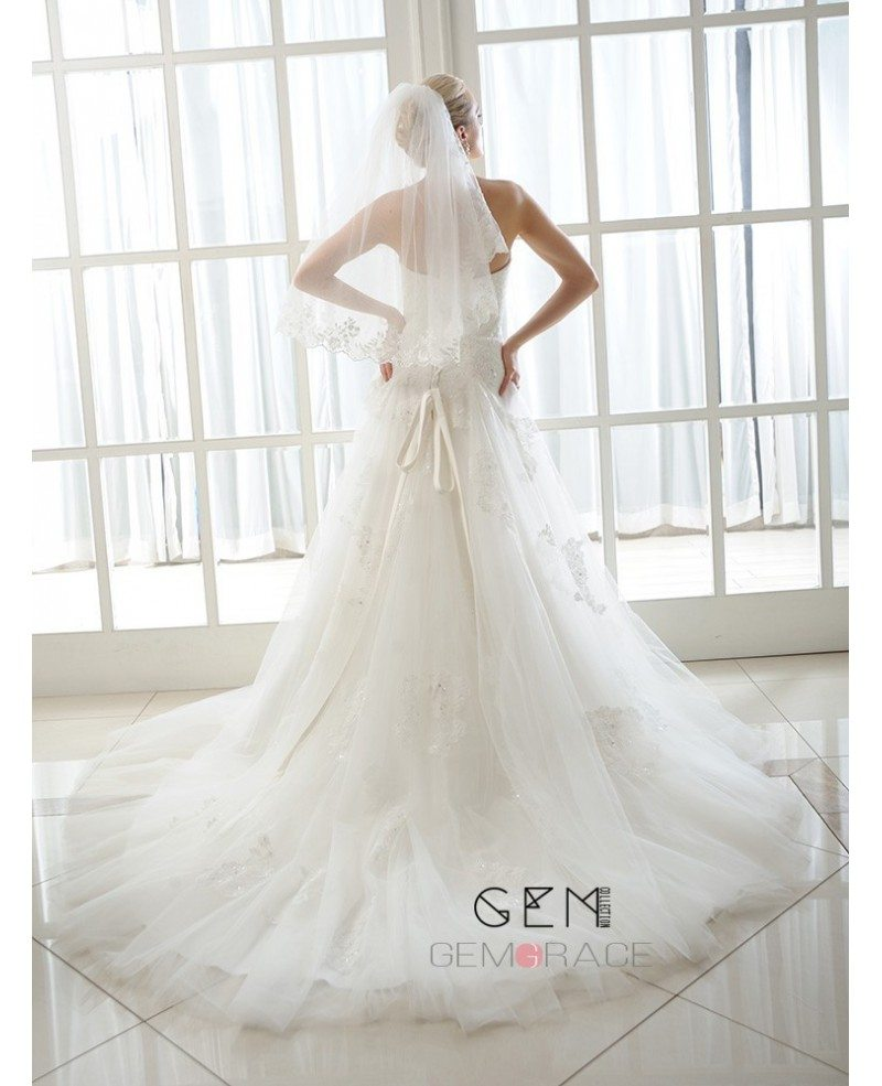 Ball-Gown Sweetheart Cathedral Train Tulle Wedding Dress