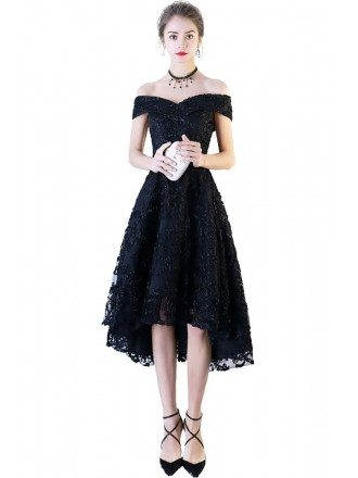 Chic Black Lace Off Shoulder Prom Party Dress