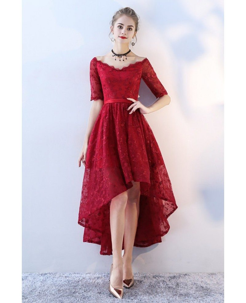 Red And White Lace Prom Dress: Red Lace V-neck High Low Prom Homecoming Dress With