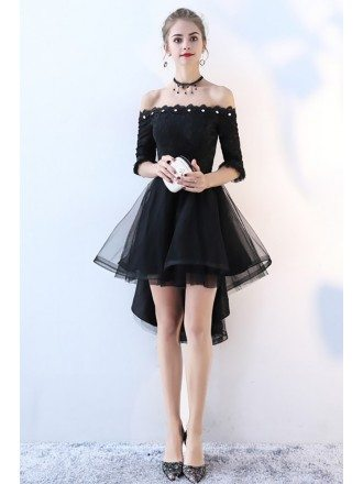 Beaded Off Shoulder High Low Homecoming Dress with Tulle