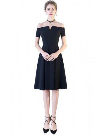 Little Black Off Shoulder Homecoming Party Dress Aline