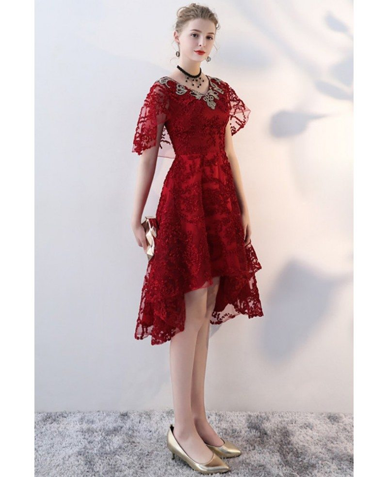 Burgundy Red Lace High Low Party Dress With Cape Sleeves Bls86032 Gemgracecom