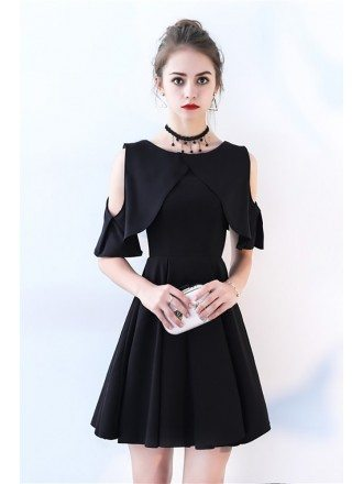 Little Black Chic Cold Shoulder Homecoming Dress with Sleeves