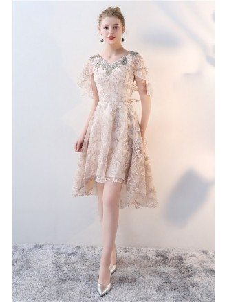 Unique Champagne Lace Formal Party Dress with Cape