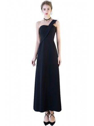 Aline Simple One Shoulder Party Dress Ankle Length