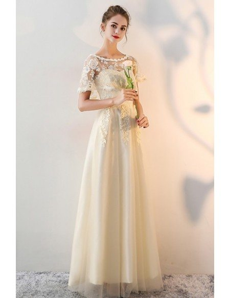 Long Tulle Champagne Wedding Party Dress with Cape Sleeves