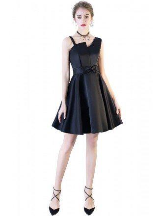 Black Aline Irregular Strap Short Party Dress