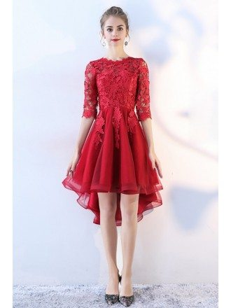 Pretty High Low Lace Prom Homecoming Dress with Lace Sleeves