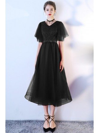 Retro Black Tulle Tea Length Party Dress Puffy Sleeves