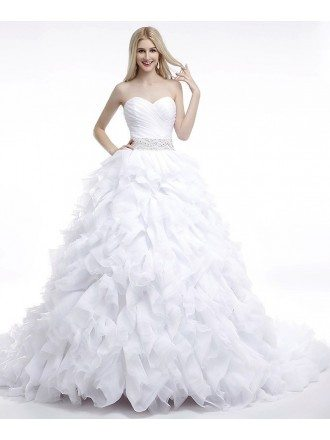 Ball-Gown Sweetheart Court Train Organza Prom Dress With Cascading Ruffles Beading