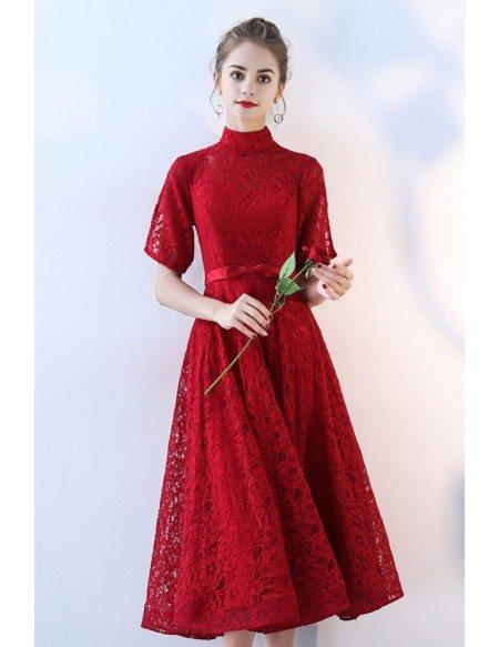 Retro Tea Length Burgundy Lace Wedding Party Dress High Neck