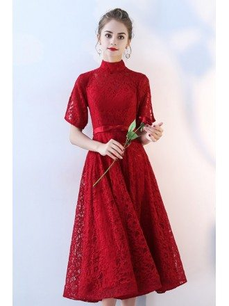 Retro Tea Length Burgundy Lace Wedding Party Dress High Neck