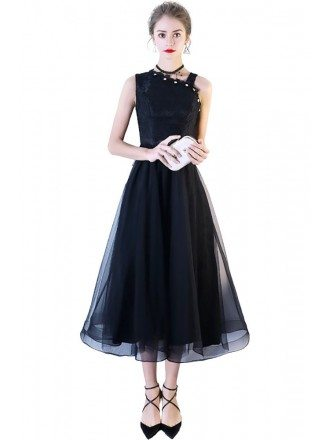 Black Lace Tulle Party Dress Tea Length with Irregular Shoulder