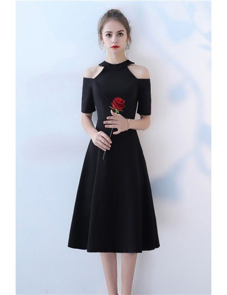 Elegant Tea Length Black Party Dress with Cold Shoulder Sleeves