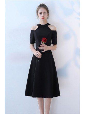 Elegant Tea Length Black Party Dress with Cold Shoulder Sleeves
