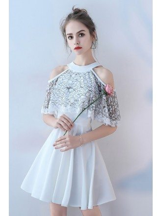 White with Black Short Halter Homecoming Party Dress Aline