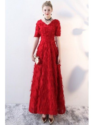 Burgundy V-neck Long Formal Party Dress with Feathers
