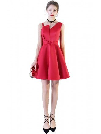 Burgundy Red Simple Satin Homecoming Party Dress