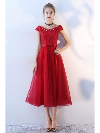 Beaded Vneck Cap Sleeve Red Tulle Party Dress Tea Length