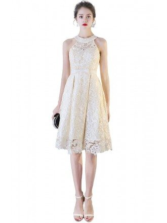 Elegant Champagne Lace Short Halter Wedding Party Dress