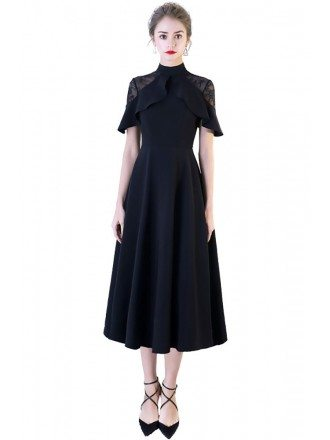 Formal Black Tea Length High Neck Occasion Dress