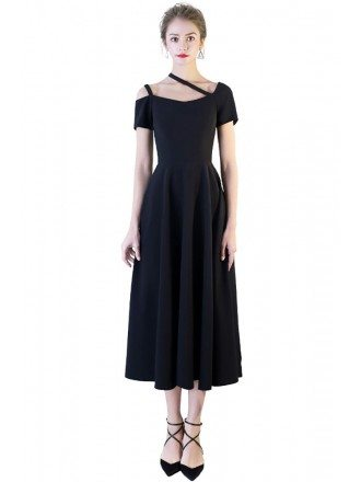 Simple Chic Black Tea Length Party Dress with Sleeves