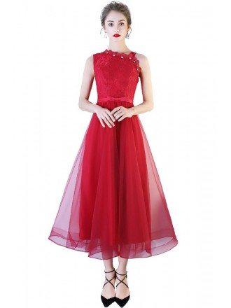 Burgundy Tea Length Tulle Beaded Party Dress Sleeveless