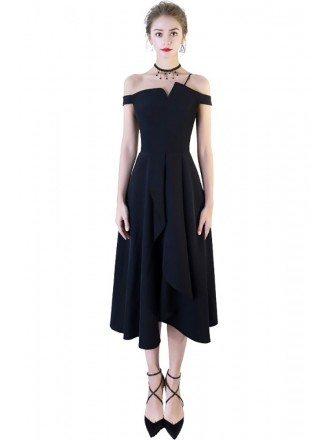 Fashion Black Tea Length Formal Dress Off Shoulder