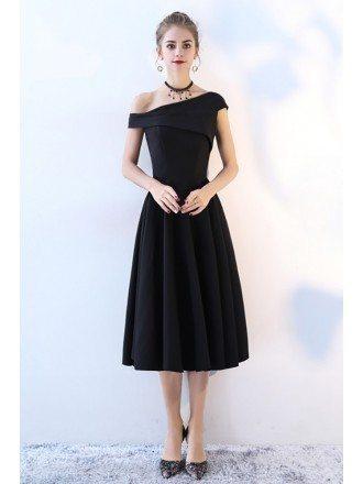 Simple Black One Shoulder Midi Party Dress