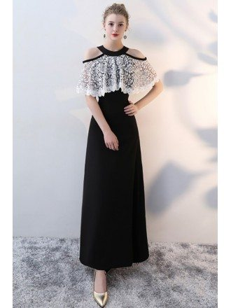 Elegant White and Black Long Party Dress Cold Shoulder