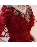 Burgundy Long Red Lace Formal Dress with Embroidery Neckline
