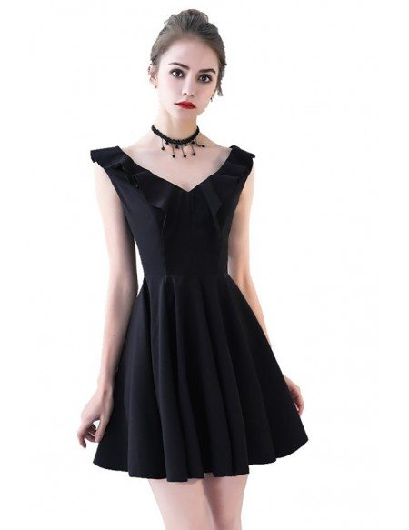 Little Black V-neck Flare Homecoming Party Dress