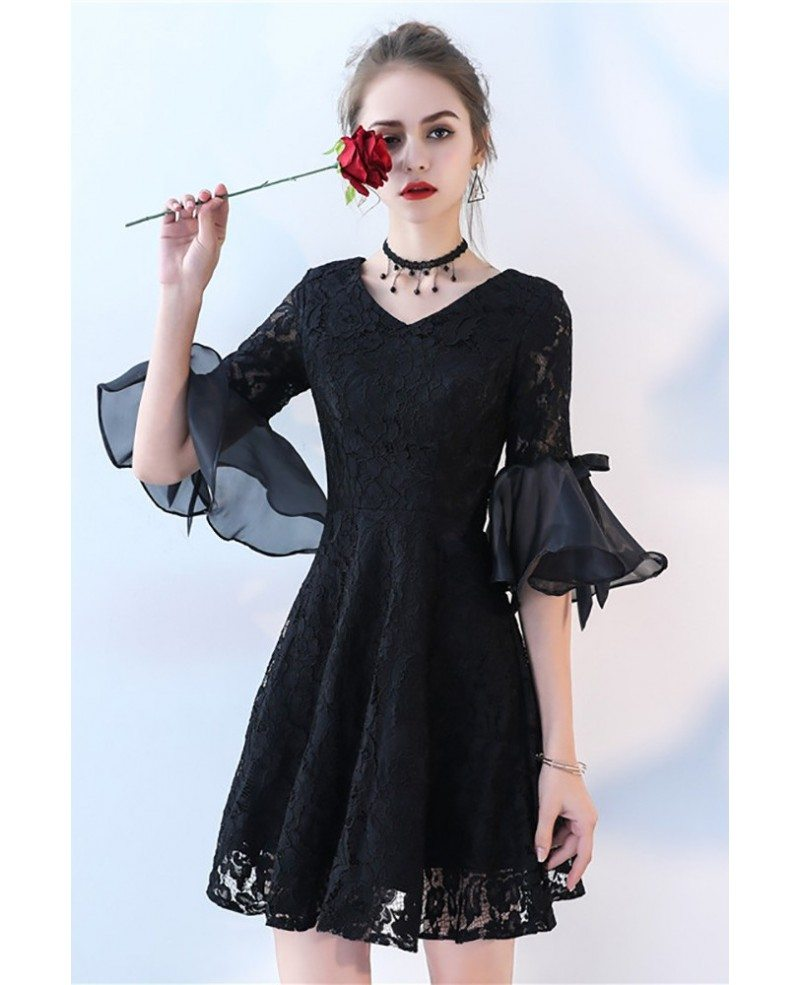 Short Black Lace Homecoming Dress With Bell Sleeve Bls86068 Gemgracecom