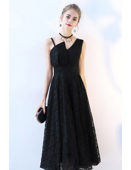 Black Full Lace Tea Length Formal Dress Sleeveless