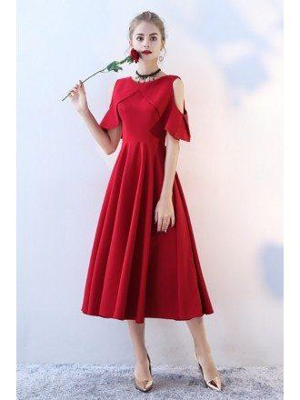 Elegant Burgundy Tea Length Party Dress with Sleeves