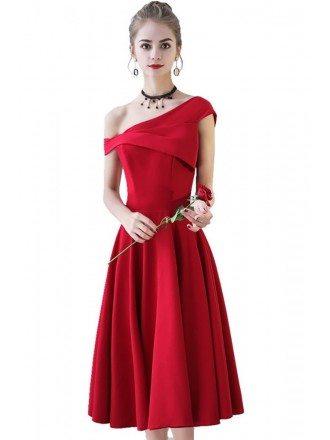 Simple Burgundy Red Aline Party Dress One Shoulder