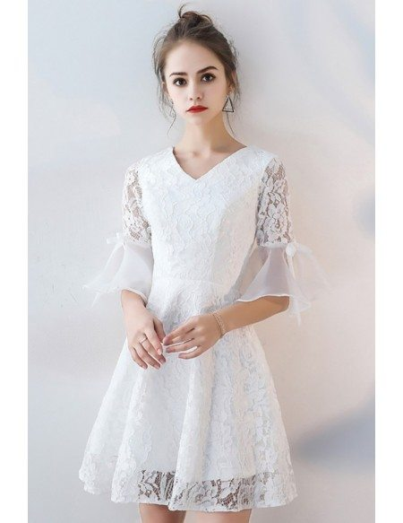 V-neck White Lace Short Party Dress Aline with Sleeves