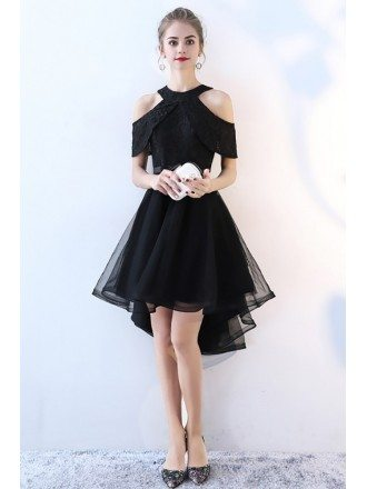 Black Tulle High Low Homecoming Dress Cold Shoulder