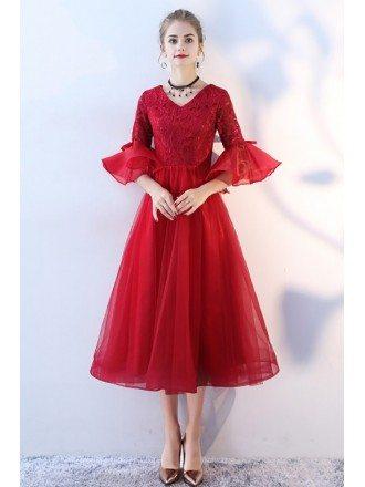 Tea Length Burgundy Red Formal Party Dress Bell Sleeves