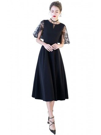 Chic Black Tea Length Party Dress with Cap Sleeves