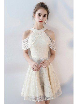 Light Champagne Short Lace Homecoming Dress Cold Shoulder