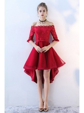 Red High Low Lace Homecoming Prom Dress Off Shoulder Sleeves