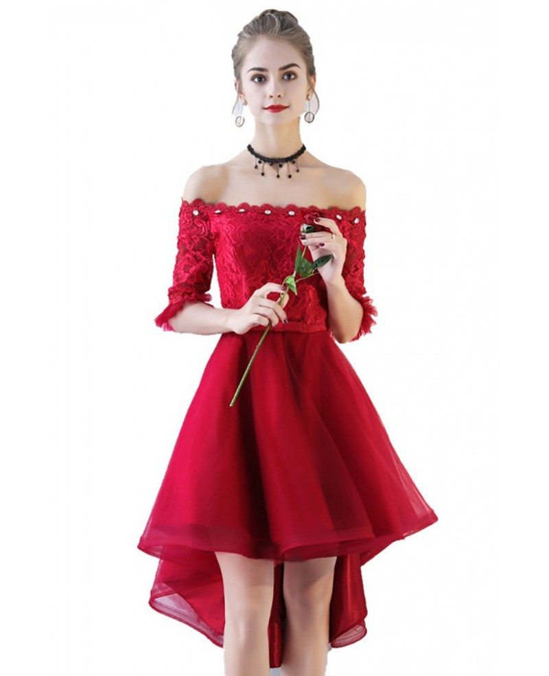 Red And White Lace Prom Dress: Red High Low Lace Homecoming Prom Dress Off Shoulder