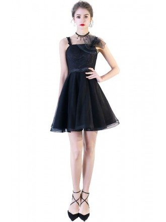 Little Black Tulle Short Homecoming Dress Flare with Straps